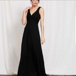 Boden Twist Waist Black Jersey Maxi Dress 6R